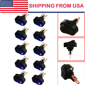 10x 12v 30amp 30a Heavy Duty Blue Led On off Rocker Switch Car Boat Marine