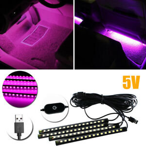4pcs Usb Led Ambient Interior Decoration Styling Lighting Strips 8 Pink Purple