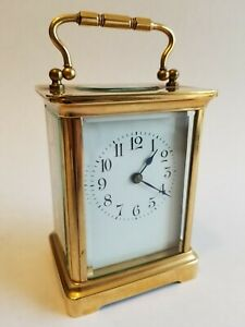 Antique French Carriage Clock With Porcelain Face Early 1900 S