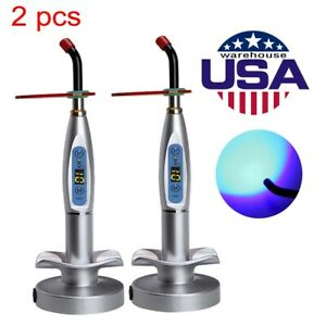 2pcs Dental Curing Light Cure Light Cure Lamp Curing Wireless Silver 5w Us Ca Mx