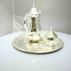 Vintage Wm Rogers Silverplate Coffee Tea Set Including Serving Tray