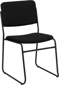 Heavy Duty Sled Base Black Fabric Stack Office Chair Waiting Room Chair
