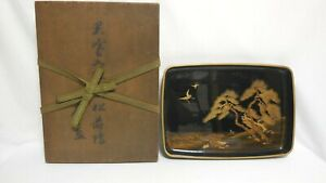 High Quality Japanese Big Tray Hirobuta Old Lacquer Ware With Makie From Japan