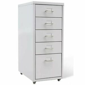 Portable 5 Drawer Metal File Cabinet Home Filing Office Storage Organizer W whee