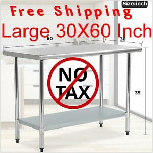 30x60 Large Stainless Steel Kitchen Work Table Commercial Restaurant Food Prep