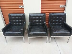 3 Vintage Lounge Chairs Mid Century Modern Furniture Chrome Drexel
