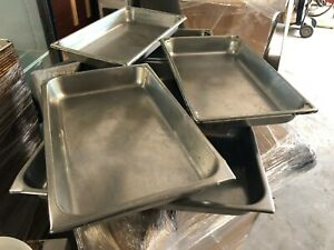 Lot Of 8 Commercial Stainless Steel Insert Steam Cooking Food Sauce Pans Nsf
