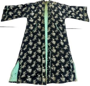 Old Long Chinese Silk Robe Jacket 60 L