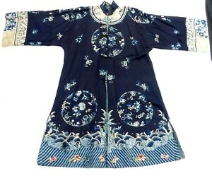 Antique Chinese Handmade Embroidered Robe Silk Long Robe
