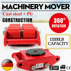 Hot Machinery Mover With 360 rotation Cap 13200lbs 6t 4 Rollers Dolly Skate Red