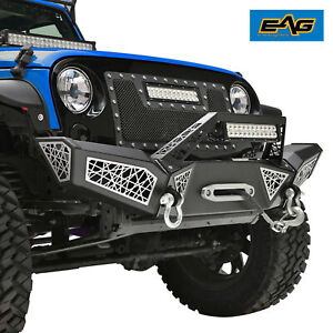 Eag Front Bumper Full Width Web With Winch Plate Fit For 07 18 Jeep Wrangler Jk