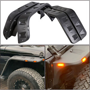 Front Rear Fender Flares Led Side Pocket Rivet Style For 07 18 Jeep Jk Wrangler