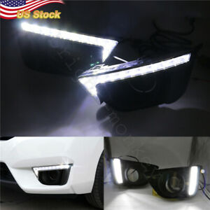 2 X Car Led Daytime Running Light White Drl Fit For Honda Jazz 2014 16 Fog Lamp