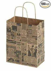100 Medium Newsprint Paper Shopping Bags With Gusset Handles 8 X 4 X 10