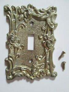Vintage American Tack And Hardware Brass Tone Switch Plate Cover Rose Design 60t