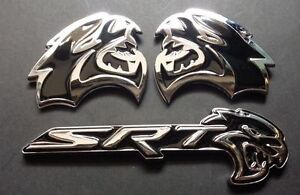 3pcs Black Hellcat Emblem L R Badge Sticker Metal Dodge Challenger Charger Srt