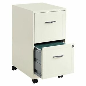 Realspace Vertical Mobile File Cabinet With Caster Kit 2 Drawers Pearl White