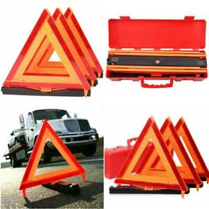 Folding Warning Triangle Dot Approved Reflective Sign Road Safety Kit 3 Pack