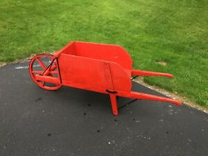 Antique Wooden Wheelbarrow Iron Wheel Removable Sides Farm Garden Display