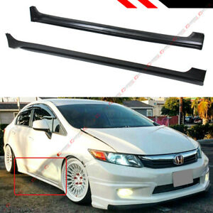 For 2012 2015 9th Honda Civic 4 Door Sedan Jdm Style Side Skirt Extension Panel