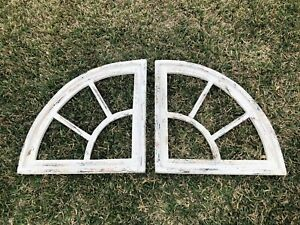 Wooden Antique Style Split Half Moon Window Frame Primitive Wood Creme