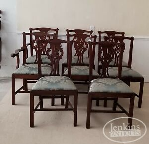 Set Of Eight Henkel Harris Chairs Mahogany Chippendale 101 Ii