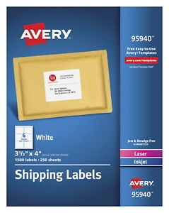 Avery 95940 Shipping Labels 3 1 3 X 4 Inches White Pack Of 1 500