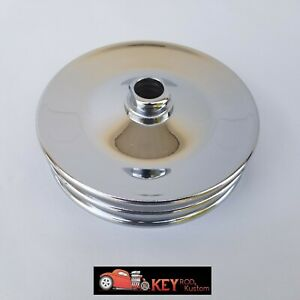 Chrome Saginaw Press On Power Steering Pulley Gm Chevy Double 2 Groove