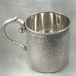 Hammered 950 Sterling Baby Cup 2 1 4