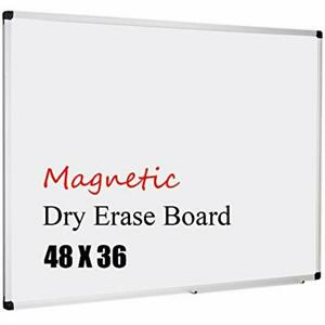 Magnetic Whiteboard 48 X 36 Board 3 Dry Erase With Detachable Marker Tray
