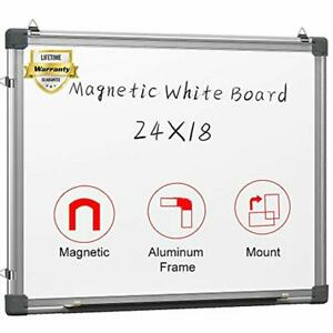 Magnetic White Board 24 X 18 Dry Erase Wall Hanging Whiteboard Office Products