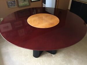 Rare One Of A Kind Ello Beautiful 58 Round Mahogany Table With Lazy Susan Vg