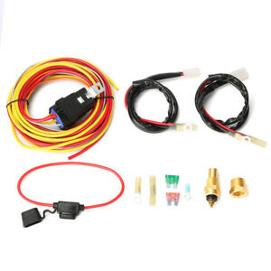 Waterproof 40a Dual Electric Cooling Fan Wiring Harness Thermostat Control Relay