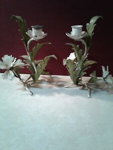 Pair Of Vintage Italian Tole Toleware Wall Sconce Shabby Chic