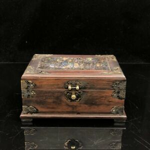 8 Chinese Old Antique Redwood Handcarved Mosaic Shells Jewelry Box