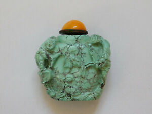 C 19th Antique Chinese China Turquoise Stone Hand Carved Snuff Bottle Qing