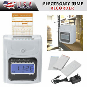 Employee Attendance Punch Time Clock Payroll Recorder Lcd Display 100 Cards New