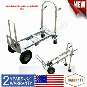 Foldable Hand Truck 3 In 1 Convertible Hand Truck 2 Wheel Dolly And 4 Wheel Cart