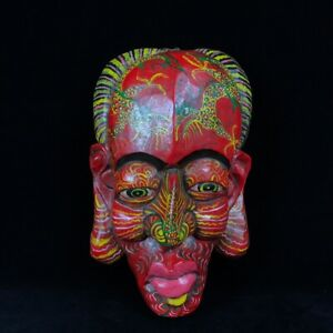 13 Chinese Old Antique Wooden Handcarved Coloured Drawing Mask Statue