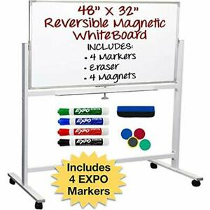 Large White Board On Wheels Reversible Magnetic Dry Erase With Rolling Stand Or