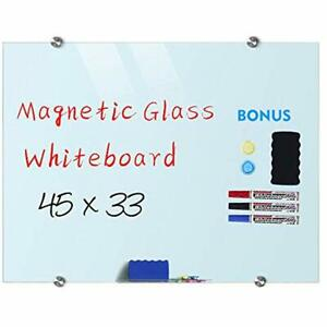 Magnetic Glass Whiteboard Dry Erase Board 45 X 33 Large Whiteboards Glasses For