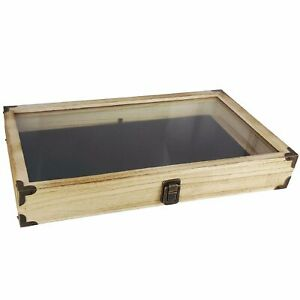 Display Box Wood Glass Top Lid With Black Pad Case Medals Awards Jewelry Oak W