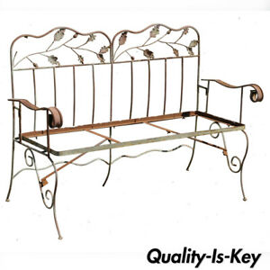 Vintage Wrought Iron Maple Leaf Garden Patio Bench Settee Seat After Salterini