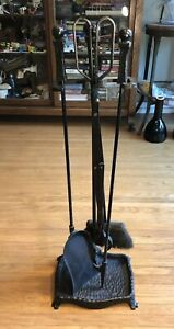 Wrought Iron Fireplace Tool Set Arts Crafts Mission Styling 32 Tall 16 5 S