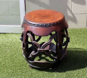 Vintage Late 20th Century Chinese Furniture Carved Round Drum Side Table Stool