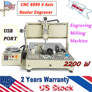 Cnc 6090 2 2kw 4 Axis Router Engraver Usb Port Engraving Milling Machine Top Us