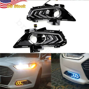 2x Car Led Drl Daytime Running Fog Driving Light For 2013 16 Ford Fusion 3 Color