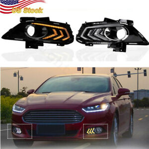 2 X Led Daytime Running Light Drl For Ford Fusion 2013 up Car Driving Fog Lamp