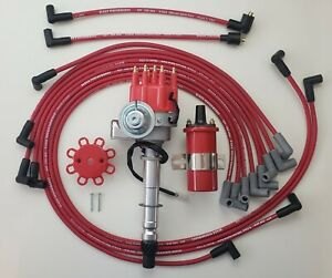 Chevy 327 350 Small Hei Distributor Red 45k Coil 8 5mm Wires Under Exhaust