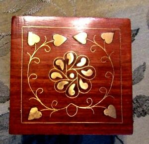 Handcrafted Wood Box With Metal Hearts Inlay Archana Crafts India